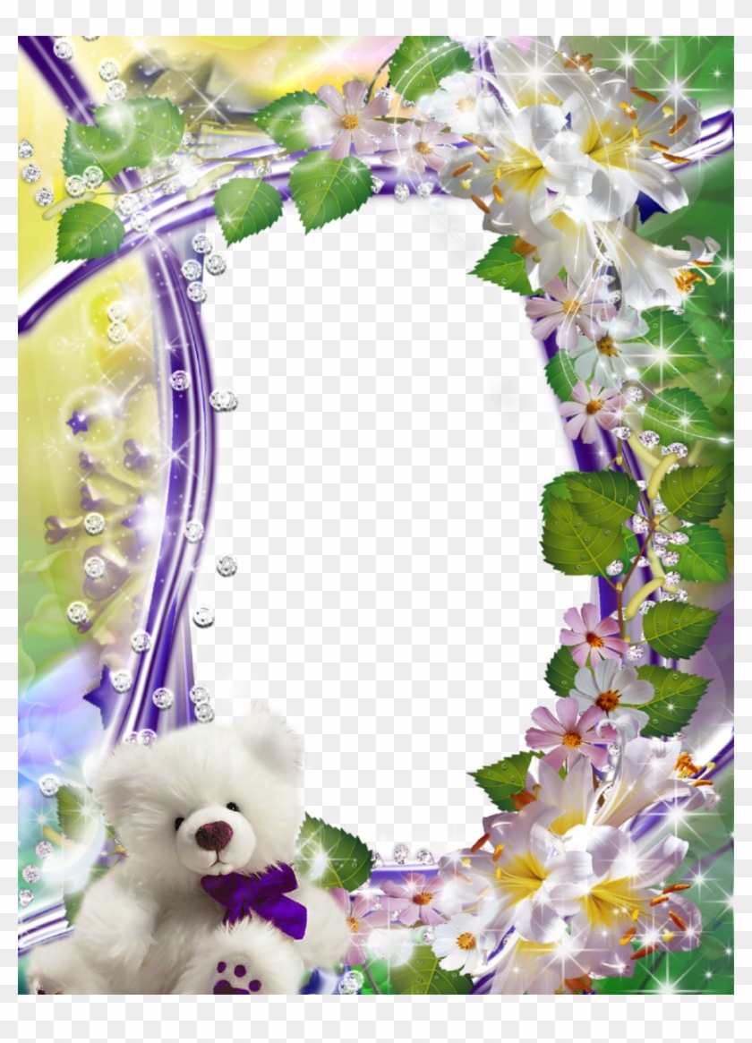 Cute Flower Picture Frame With Fluffy White Teddy - White Teddy Bear ...