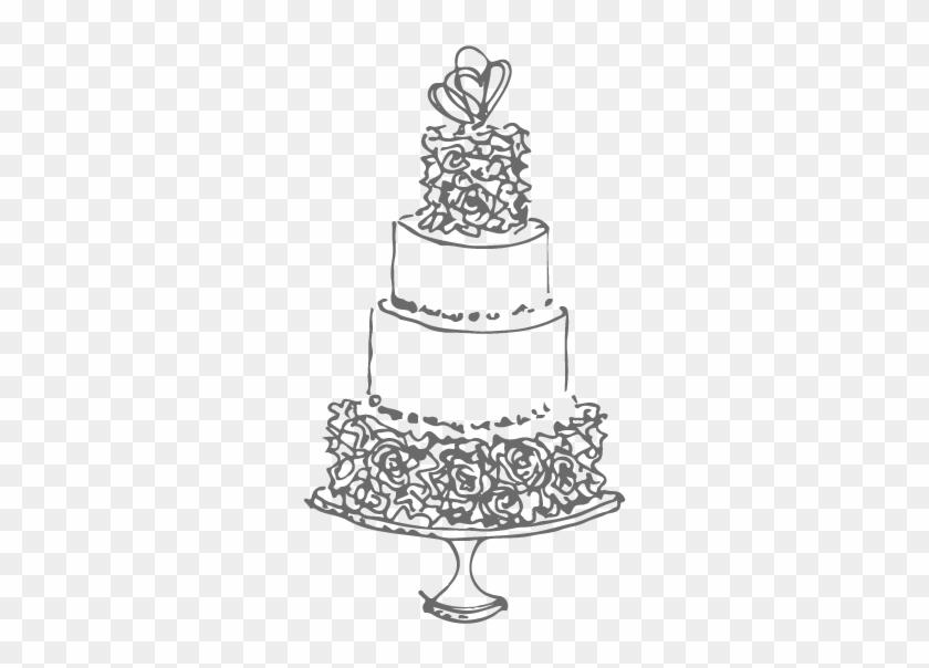 Drawn Wedding Cake Line Drawing Sketch 1073783
