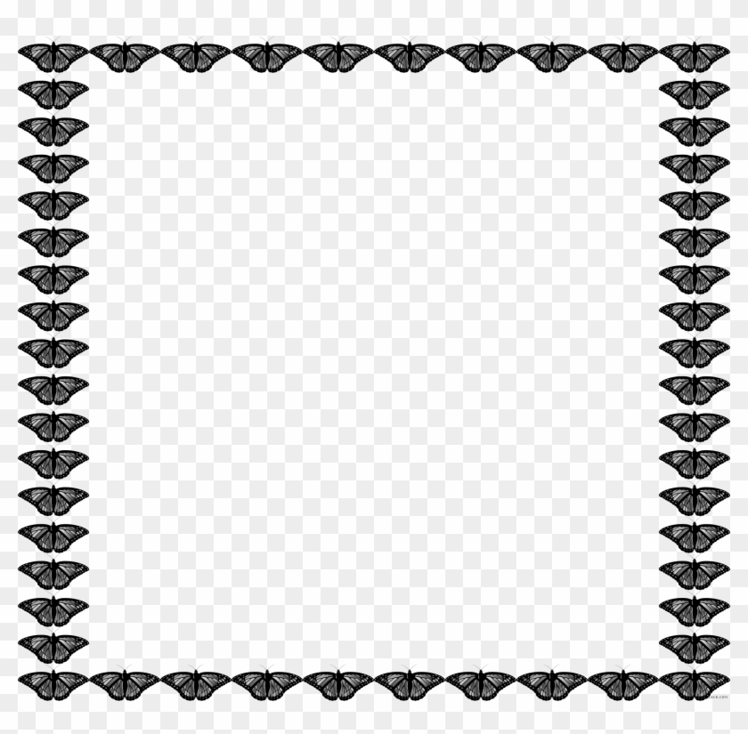 Butterfly Frame Animal Free Black White Clipart Images Simple