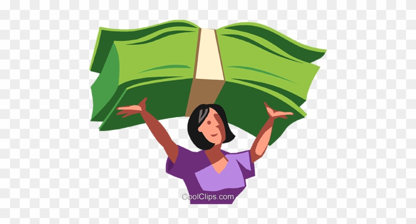 Woman Holding Money Clipart