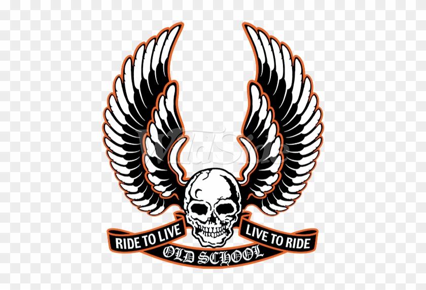 Vintage Skull Wings Ride to Live Biker Pin