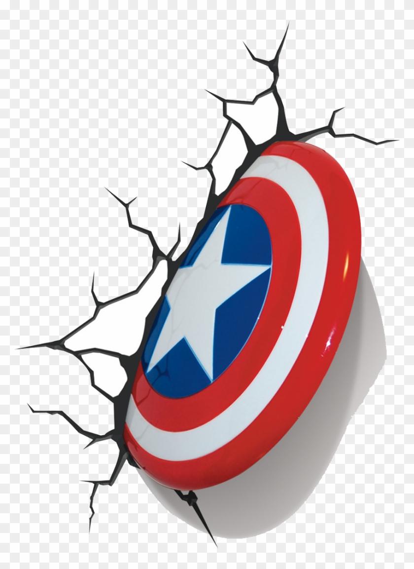 Captain America's Shield Light Marvel Comics Wall - Captain America Shield In Wall #1077450