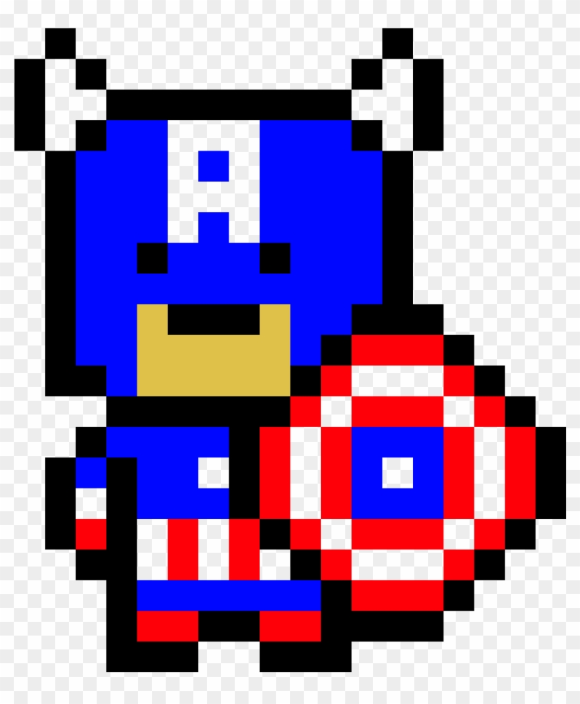 Captain America's Shield Pixel Art - Captain America Pixel