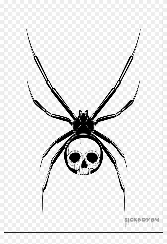 Black Skull In Spider Tattoo Stencil By Sickboy Draw Black Widow