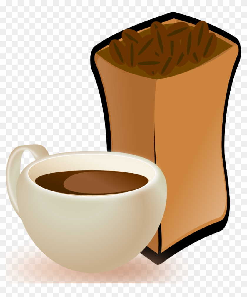 Onlinelabels Clip Art Cup Of Coffee With Sack Of Coffee - Coffee Beans Clip Art #1081052