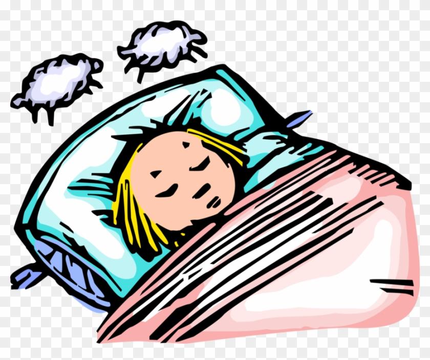 Vector Illustration Of Little Girl Sleeping Asleep - Girl Falling Asleep Cartoon #1081195