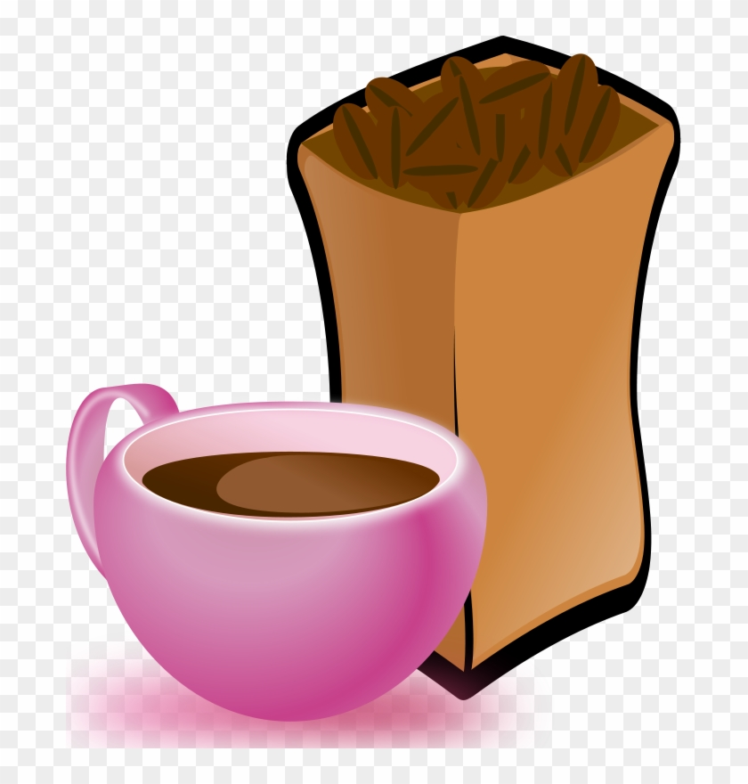 Free Cup Of Coffee With Sack Of Coffee Beans - Coffee Beans Clip Art #1081508