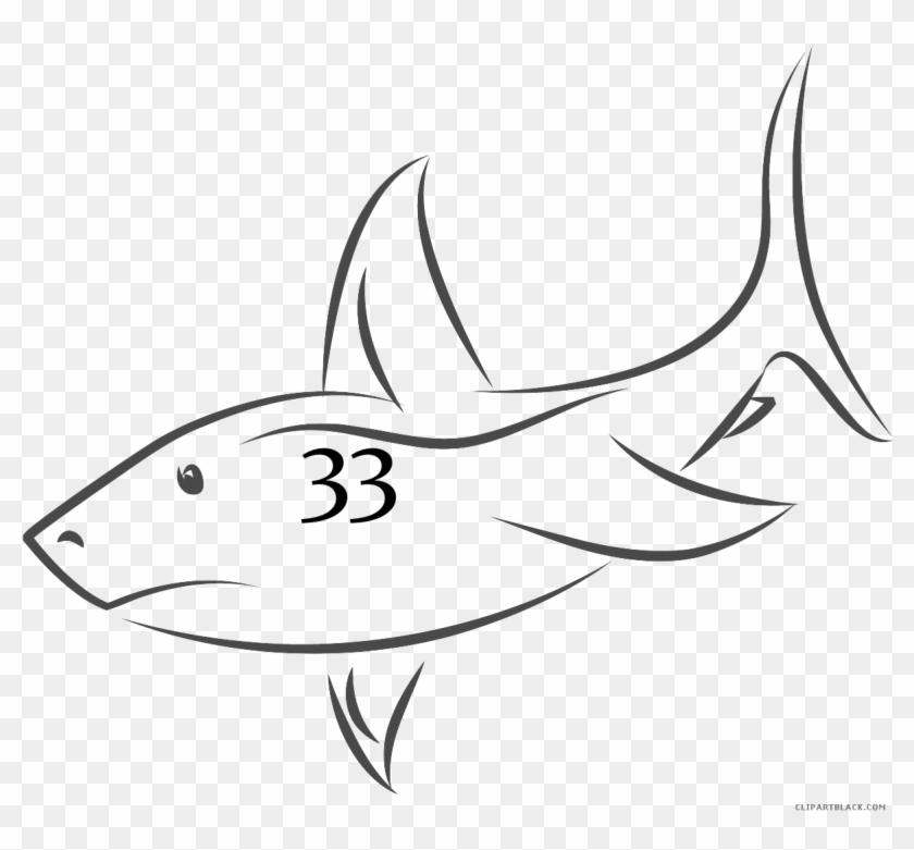 Shark Outline Animal Free Black White Clipart Images - Shark Fin Drawing #1081713