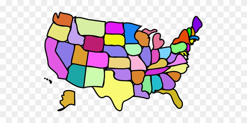 United States, States, Usa, America, Map - Cities States Countries on