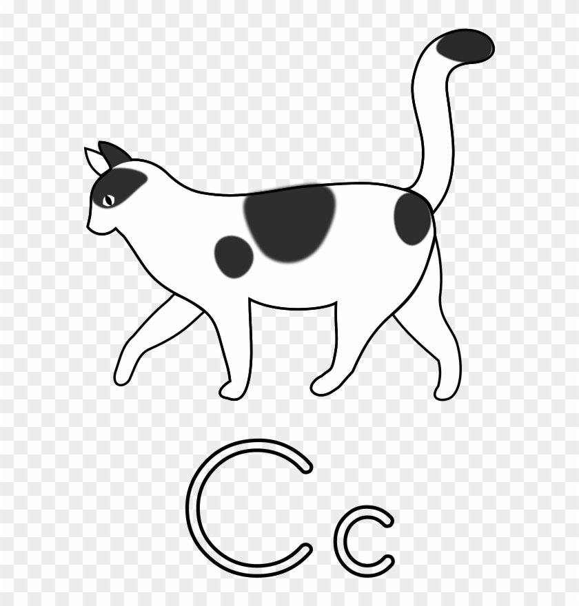 Free Letter C For Cat For Coloring - C Is For Cat Drawing #1083347