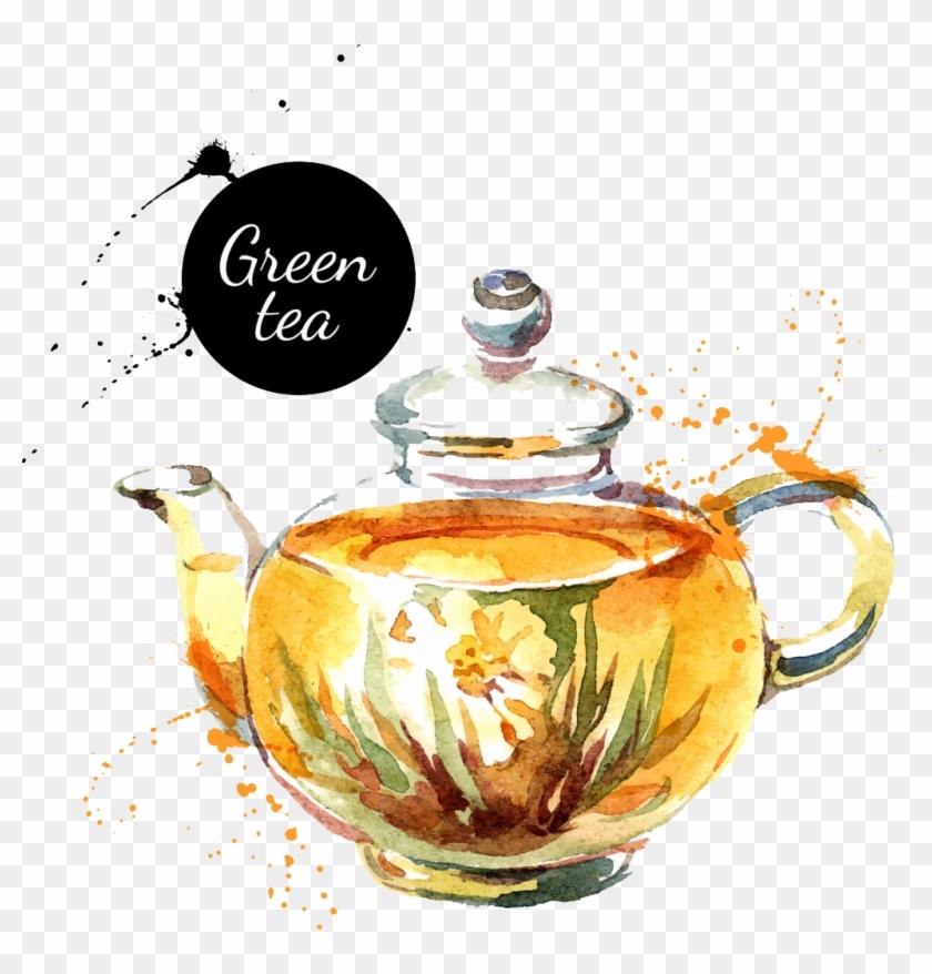 Watercolor Painting Drawing Royalty Free Teapot - Teapot Pour Tea Watercolour #1084255