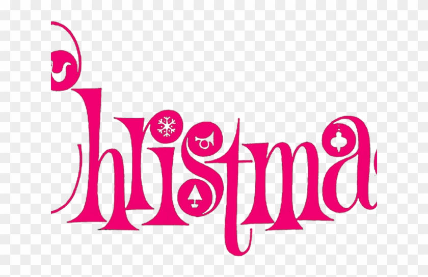 Merry Christmas Text Clipart Pink Christmas Clip Art Free
