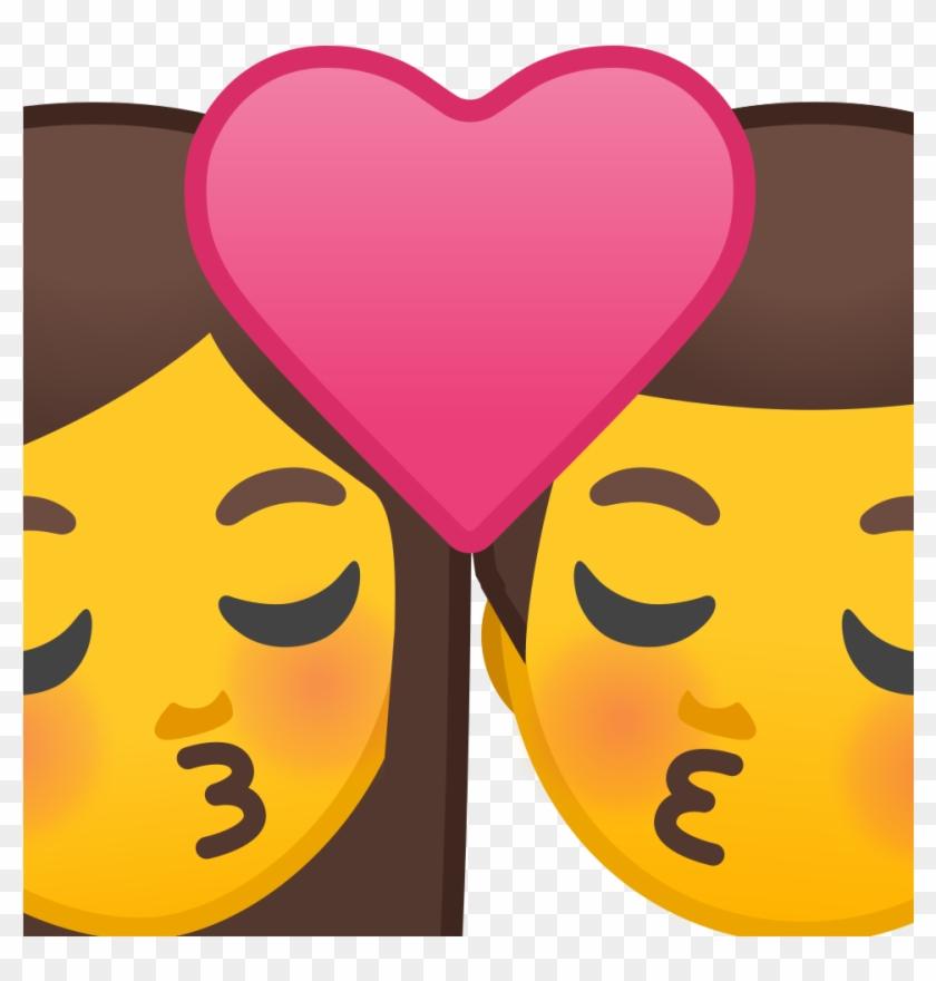 Kiss Woman Man Icon - Emoji Kissing Girls - Free Transparent