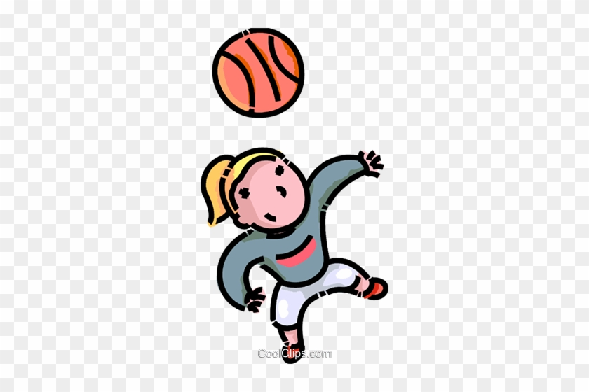 Girl Playing Basketball Royalty Free Vector Clip Art - Cartoon Girl Playing Basketball #1086068