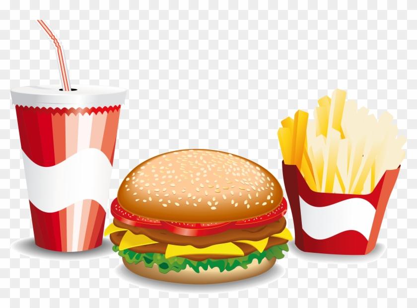Hamburger Fast Food French Fries Cheeseburger - Fast Food Vector Png #1086091