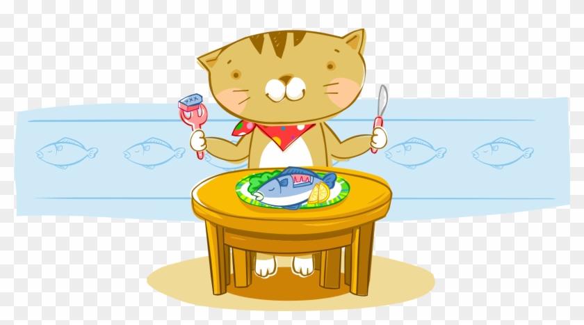 Cat Fish Cartoon Eating - Fork #1086317