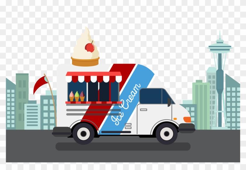 Ice Cream Van Car Street Food - Ice Cream Truck Graphic #1086342