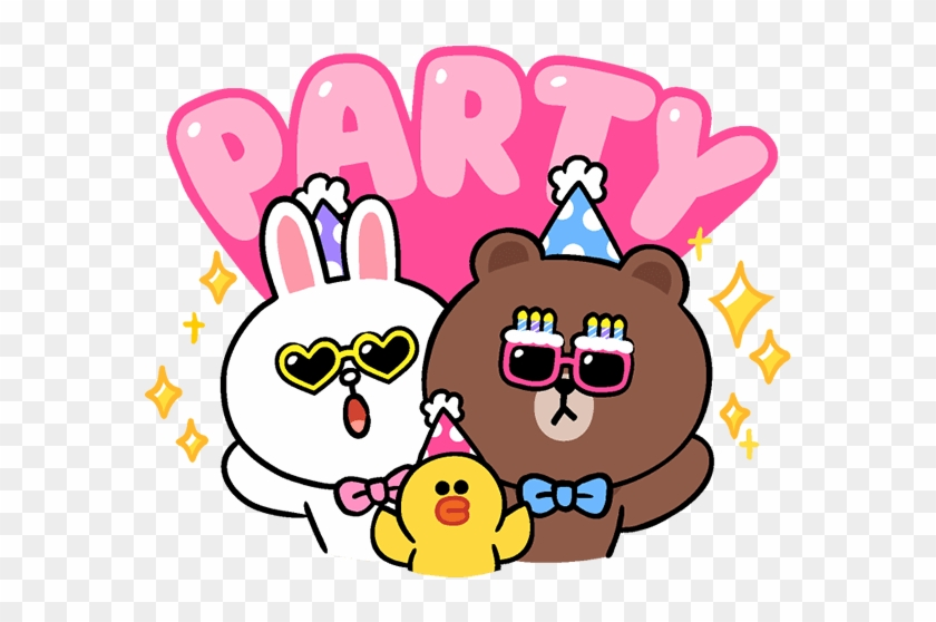Linefriends Brown Cony Balloons Cute Party Birthday - Birthday #1087626
