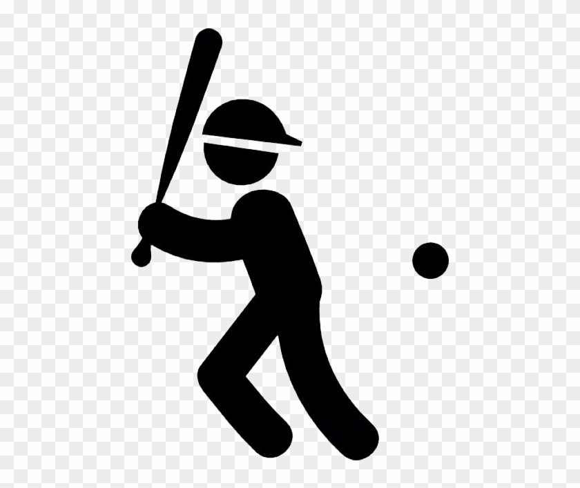 Baseball Player With Bat Ball And Cap Vector Icone Baseball Free