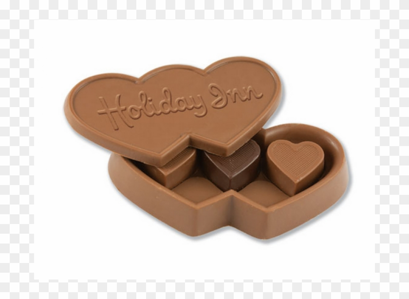 Custom Triple Chocolate Heart Box W/ Stock Chocolate - Imprinted Chocolate Candy Heart Box With Heart Truffles #1088693