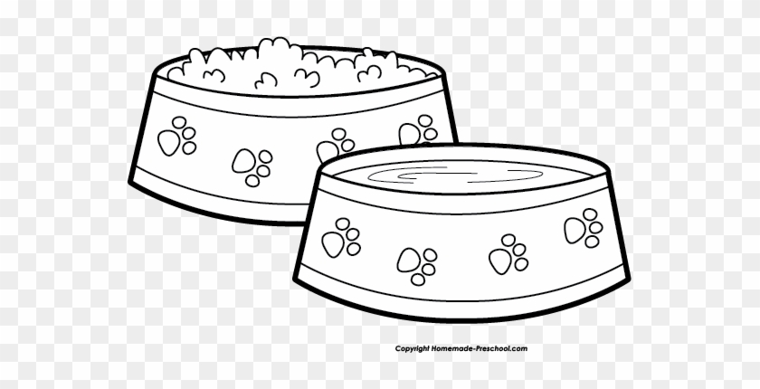 Dog Food Bowl Clip Art Black And White - Dog Bowl Clipart Black And White Png #1089117