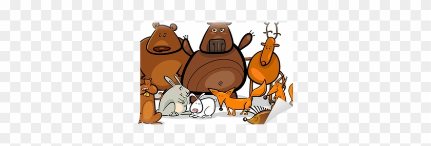 Wild Forest Animals Group Cartoon Illustration Wall - Forest Animals Coloring Book #1094272