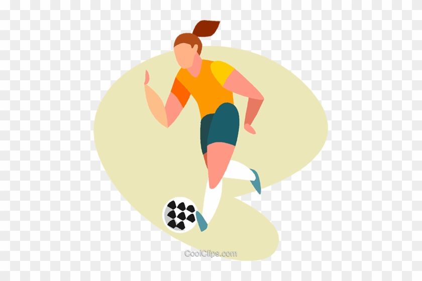Women Playing Soccer Royalty Free Vector Clip Art Illustration - Girl Playing Soccer Clip Art #1094976