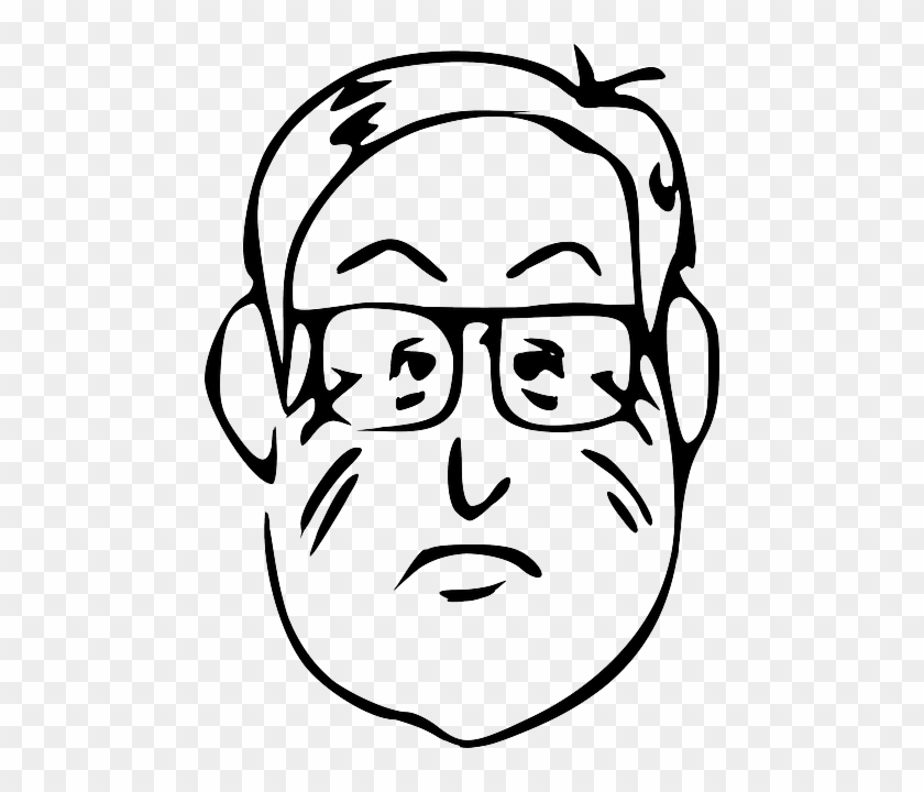 Beard Head, Part, Outline, Man, Face, Body, Glasses, - Man Face Drawing Cartoon #1097103