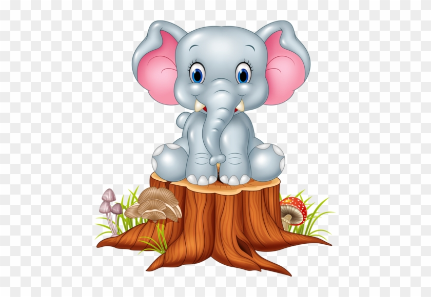 Cute Elephant With Tree Stump Vector - Cute Baby Elephant Cartoon #1097280