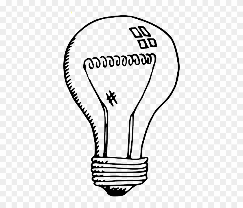 Black, Home, Outline, Drawing, Lamp, Sketch, White - Led Light Bulb Clip Art Black And White #1097369