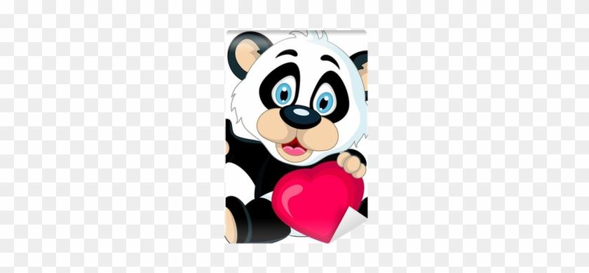 Cute Baby Panda Holding Love Heart Wall Mural • Pixers® - Panda Holding Blank Sign #1097686