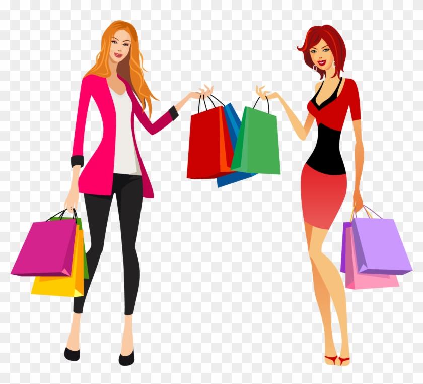 Shopping Fashion Clip Art - Shopping Girls Png #1098772