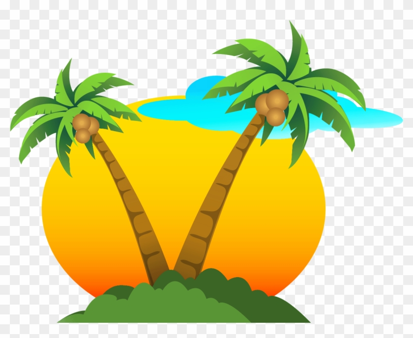 Image Result For Beach Clip Art Cartoon - Palm Tree Sun .png #1100385