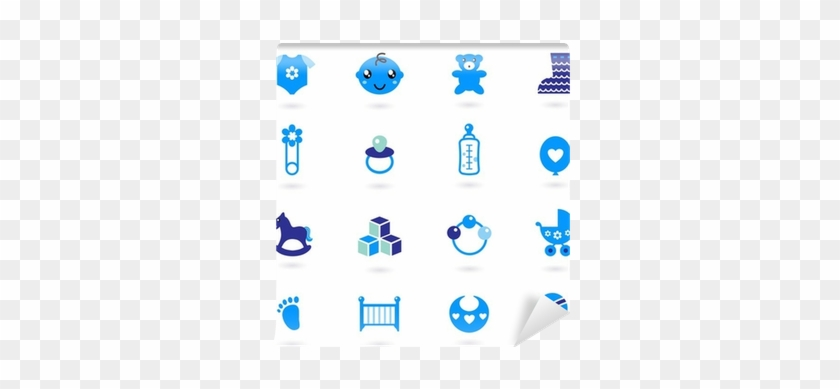 Vector Blue Icons Collection For Baby Boy Isolated - Accesoris Baby Girl Vector #1102429