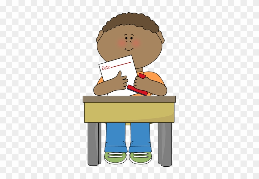 Date Clipart Classroom Calendar - Boy Sitting In Desk Clipart #186209