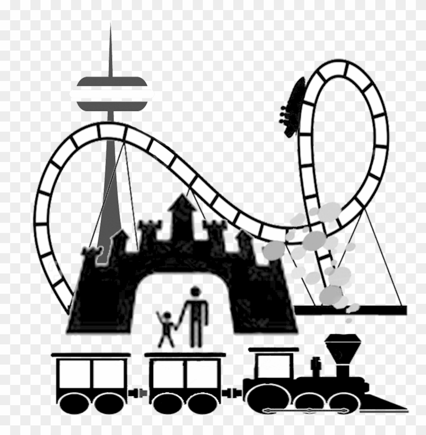 Amusement Park Clip Art - Theme Park Cartoon Black And White #186594