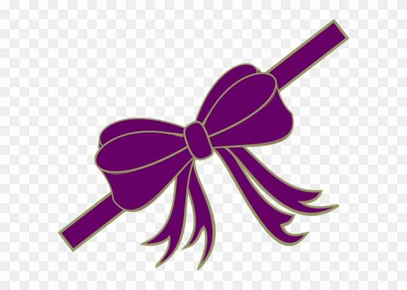 Purpleribbon Clip Art At Clker - Red Christmas Ribbon Bow Magnets #187487