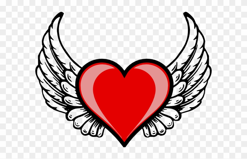 Gold Ribbon Vector Png Download - Love Heart With Wings #187825