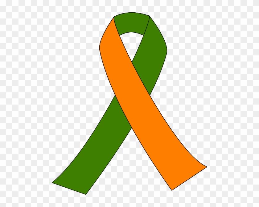 Thyroid Cancer Awareness Ribbon Kidney Pink Ribbon - Orange And Green Awareness Ribbon #188005