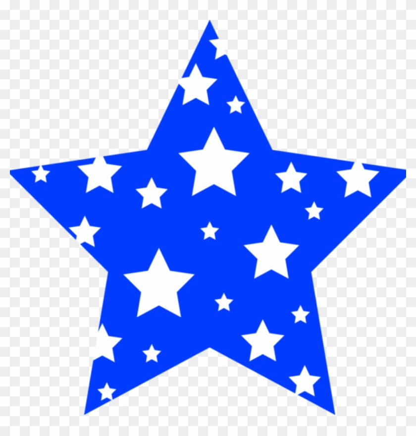 Blue Star Clipart Blue And White Starry Star Free Clip - Thewatsonshop Star Burlap Throw Pillow #188921