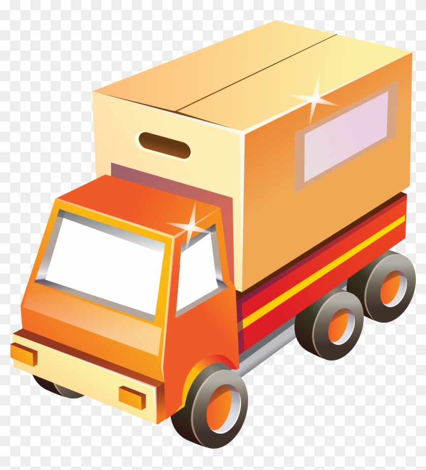 Toy Box Car With Shine Png Clipart - Truck Box Delivery Cartoon #1105334