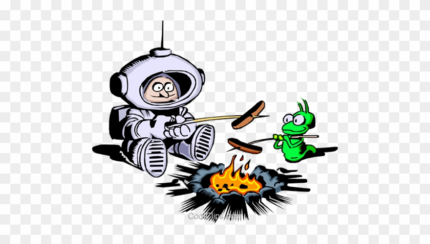 Cartoon Spaceman Roasting Hot Dogs Royalty Free Vector - Outer Space Clip Art #1106098