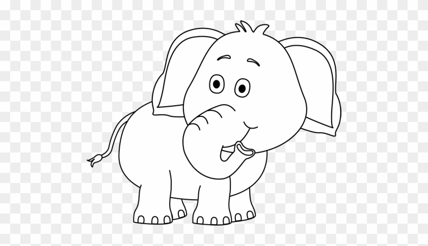 Black And White Elephant Looking Behind - Elephant Clipart Black And White Png #1107367