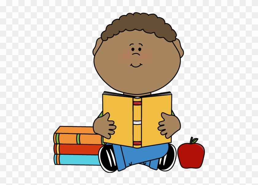 Boy Reading Clip Art Little Boy Reading A School Book - Boy Reading Clip Art #1109366