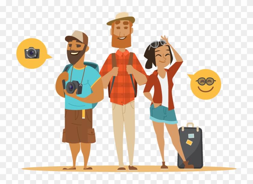 Backpacking Package Tour Tourism Cartoon - Tourist Cartoon Png #1110016