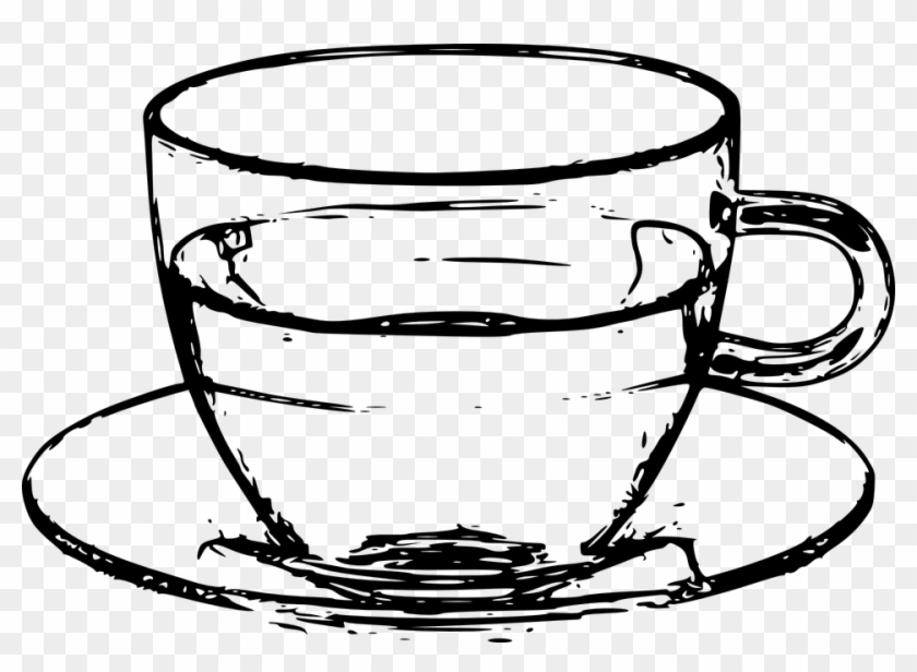 drawn coffee vector png cup and plate black and white free
