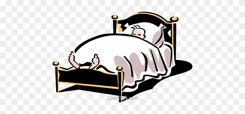 Bed/sleeping Royalty Free Vector Clip Art Illustration - Cartoon Bed Sleepign Person #1113426