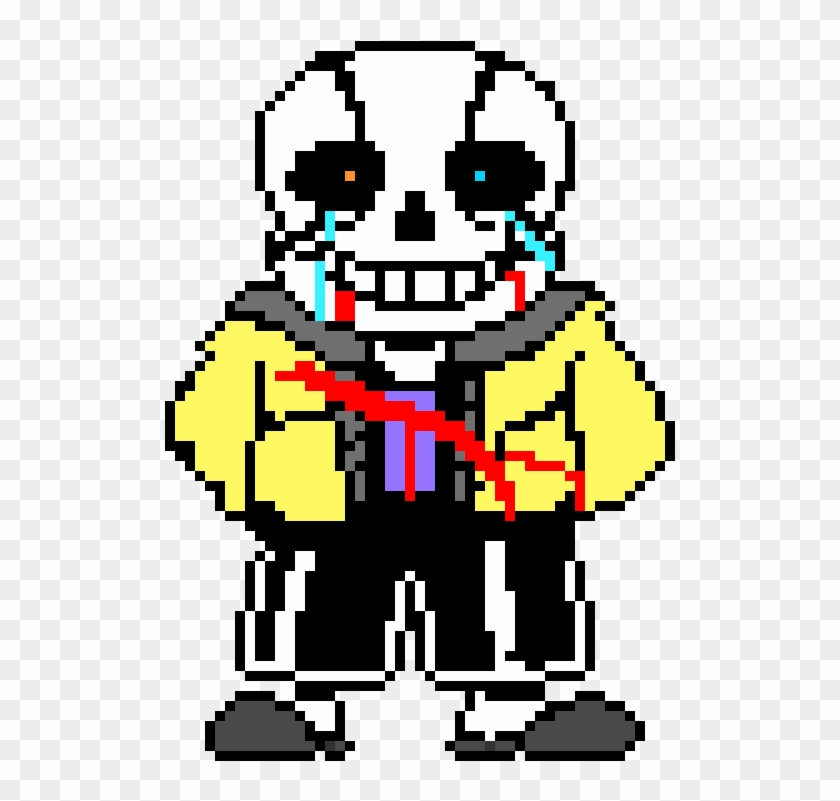 Sad Defeated Hero Sans - Sans Pixel Art Grid - Free