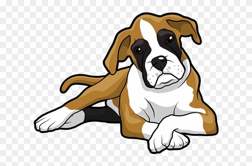 Boxer Puppy Golden Retriever Drawing Clip Art - Cute Boxer Dog Cartoon #1120581