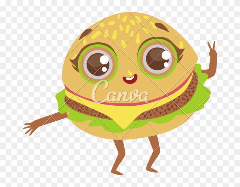 kawaii burger cartoon food vector animasyon free transparent png